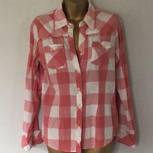 Thread & supply checked plaid button down shirt L